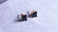 Серьги-гвоздики фирмы Xuping с черными камнями (color ХР1016, 7мм Т0410 черные)