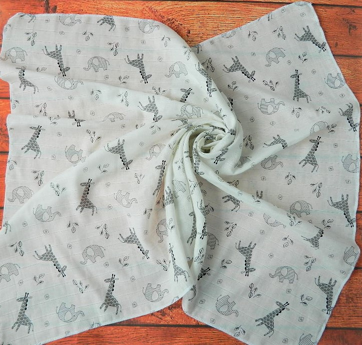 Муслиновая пеленка 125 Х 85 см Жирафик
