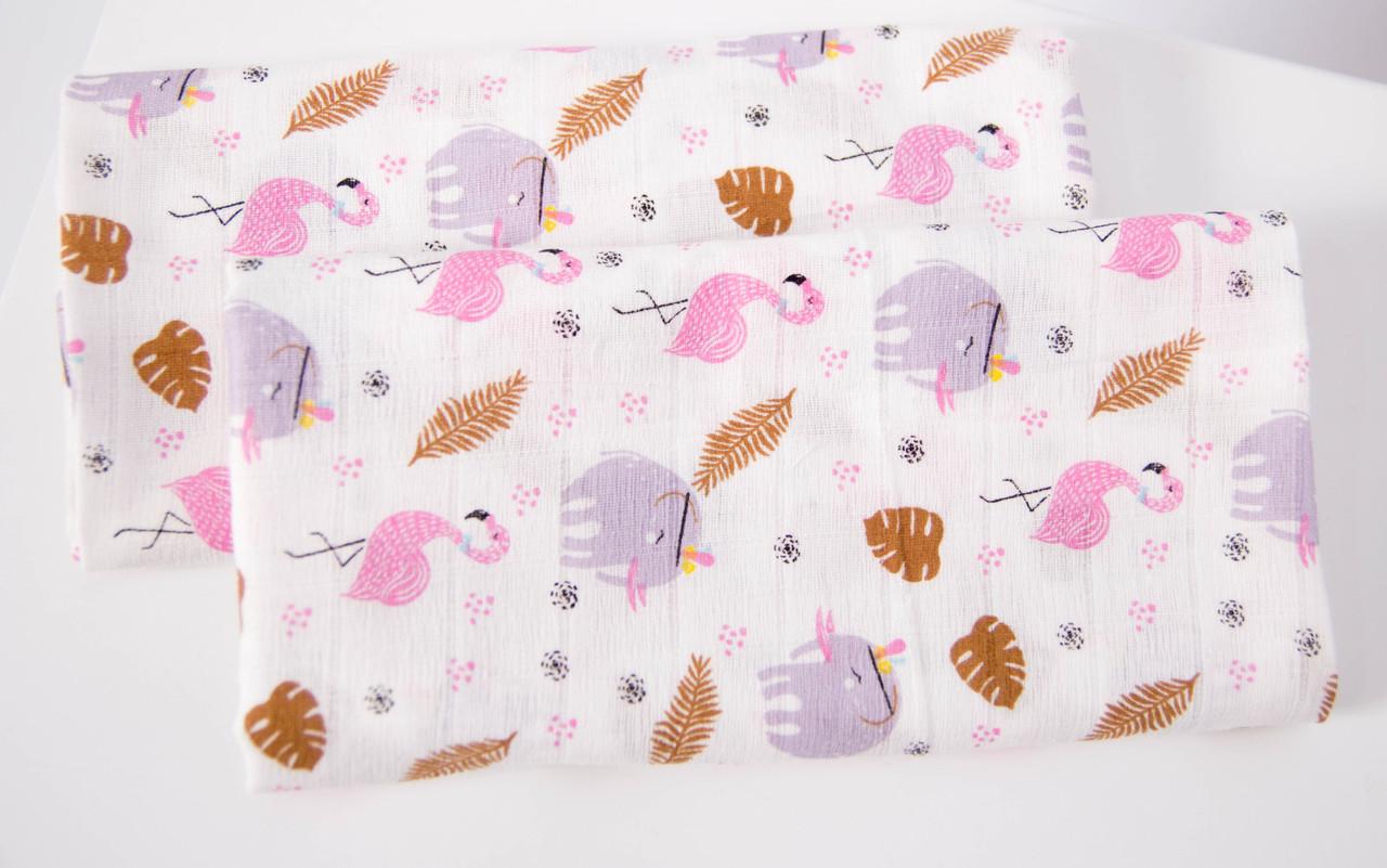 Муслиновая пеленка 125 Х 85 см Фламинго