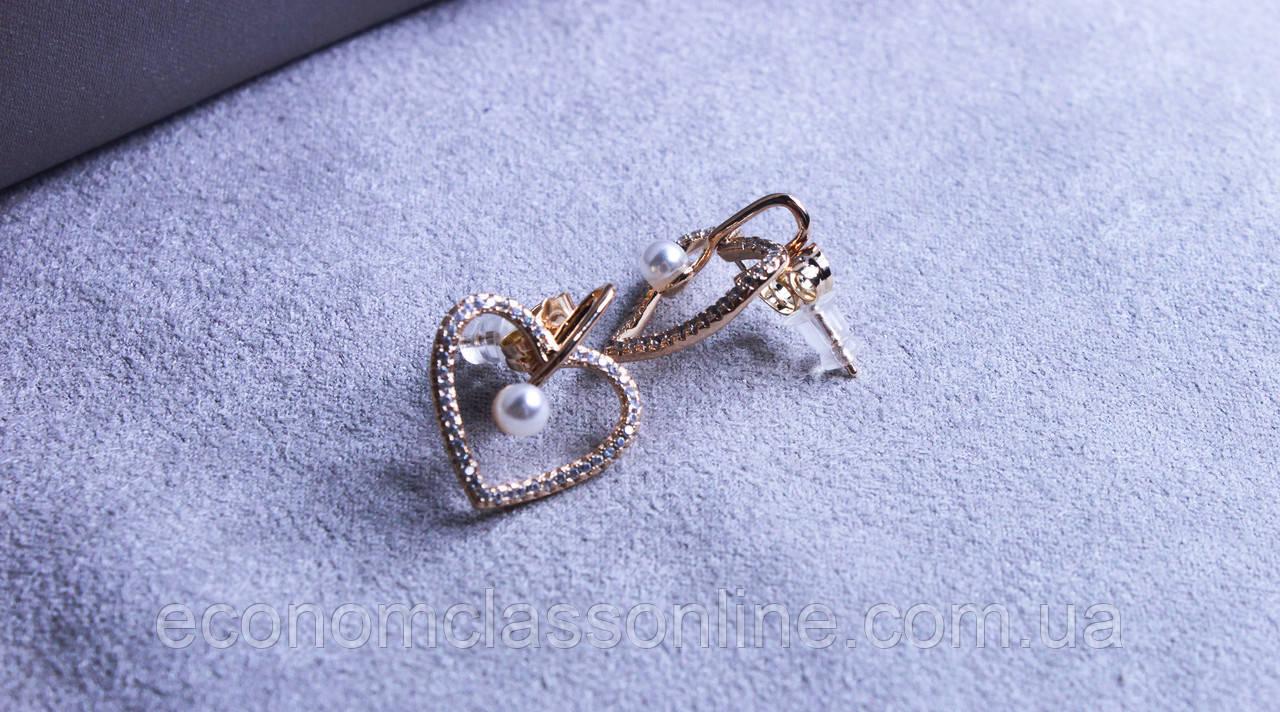 Сережки - сердечка Xuping з перлами і цирконієм ( color 34 )