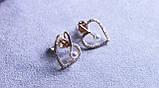 Сережки - сердечка Xuping з перлами і цирконієм ( color 34 ), фото 3