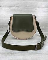 Женская сумка оливковая с бежевым через плечо маленькая кросс-боди молодежная 587, фото 1