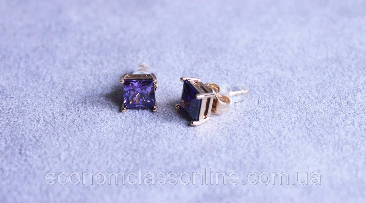 Серьги Xuping позолота с фиолетовым камнем ( color ХР1016, 7мм Т0410 фиолетовые)