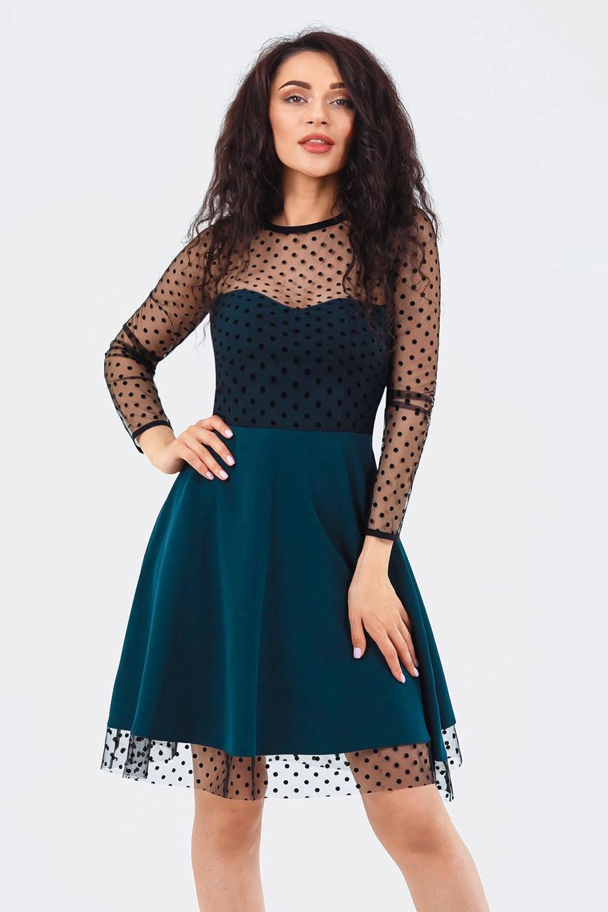 Жіноче темно-зелене плаття в сіточку Amelia