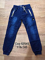 Штаны под джинс утеплённые для мальчиков оптом, Seagull, размеры 116-146,  арт. CSQ-52544