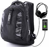 Рюкзак для мальчика Winner One черный ортопедический с широким дном камуфляжный два отделения + слот USB