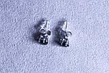 Серьги Xuping позолота с черным камнем ( Rhodium color ХР1016, 6мм Т0280 черные), фото 2