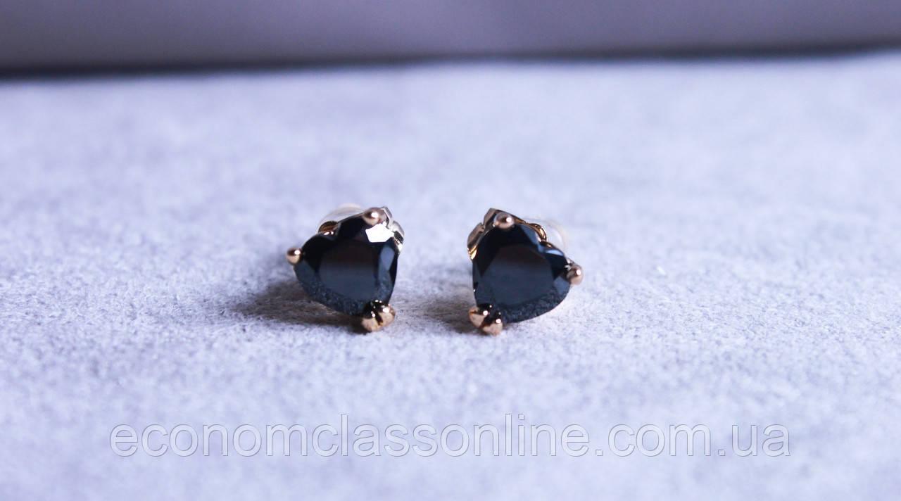 Сережки - сердечка Xuping (color ХР1016, 7мм Т0390 чорні)