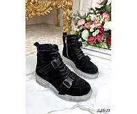 Ботинки на шнурках, тракторная подошва, фото 1