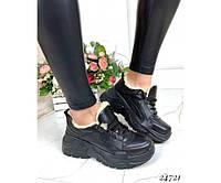 Зимние ботинки кожаные на толстой подошве, фото 1
