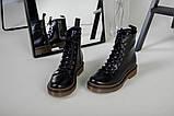 Женские черные кожаные демисезонные ботинки, фото 3