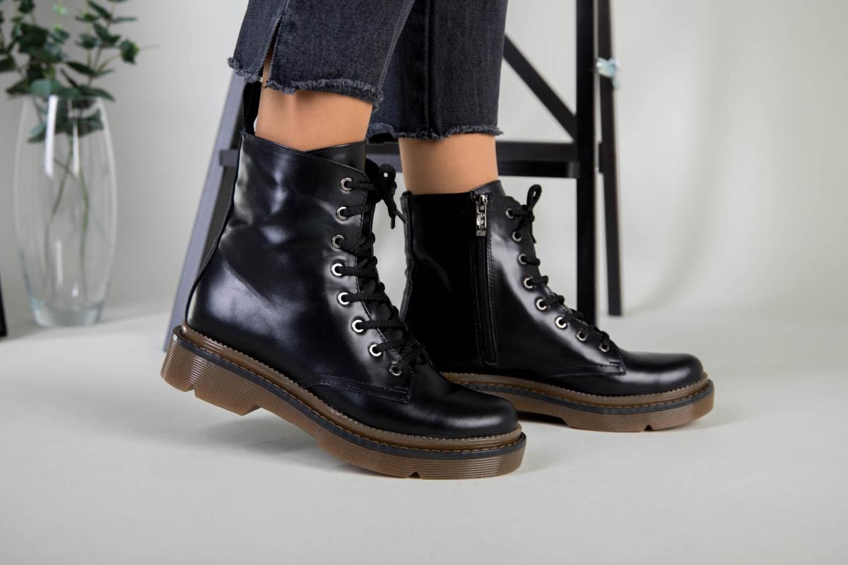 Женские черные кожаные демисезонные ботинки