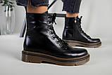 Женские черные кожаные демисезонные ботинки, фото 7