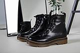 Женские черные кожаные демисезонные ботинки, фото 10