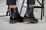 Женские черные кожаные демисезонные ботинки, фото 6