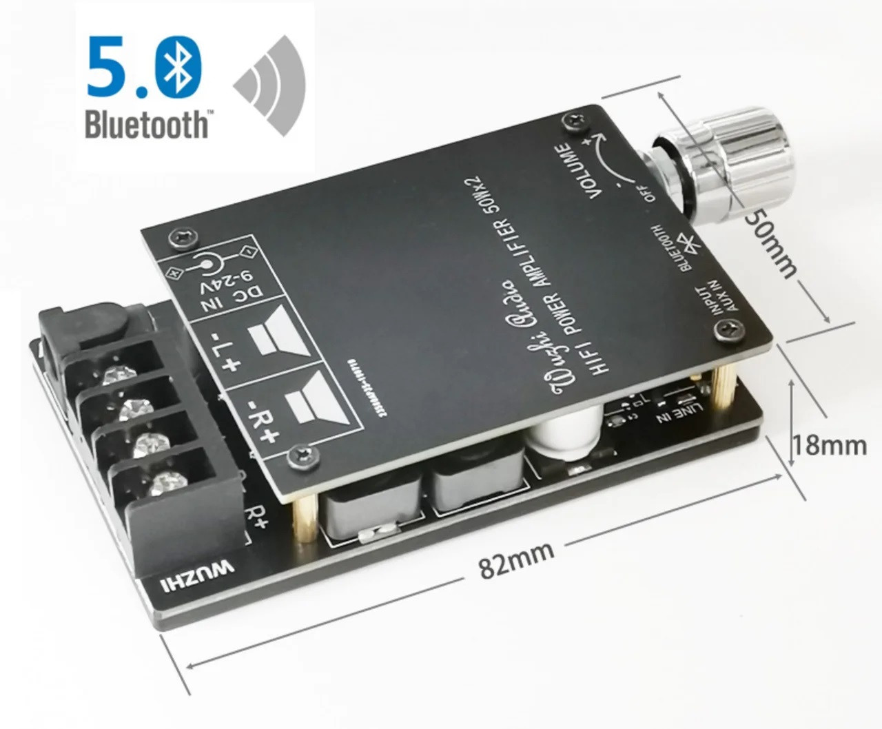 Підсилювач TPA3116 2.0, 5-27В, 2х50Вт, Bluetooth 5.0, AUX, ZK-502C