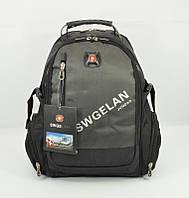 Рюкзак мужской текстильный с выходом для USB, наушников хаки 1416