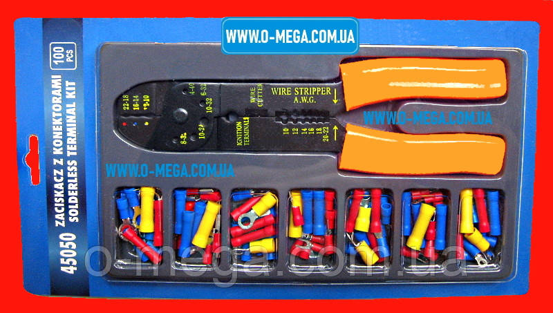 Клещи WX-301 (LS-313C) в наборе 45050 с соединительными кольцами, плоскими коннекторами, вилками и кольцами