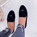 ТОЛЬКО  на 24,5 см! Женские черные лоферы-балетки эко-замш, фото 4