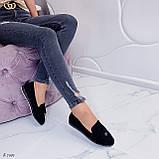 ТОЛЬКО  на 24,5 см! Женские черные лоферы-балетки эко-замш, фото 6