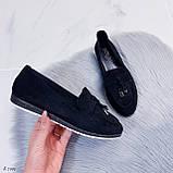 ТОЛЬКО  на 24,5 см! Женские черные лоферы-балетки эко-замш, фото 8