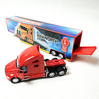 Машинка трейлер метал 1:68 32,5 см красная Kinsmart