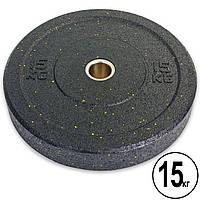 Бамперные диски для кроссфита Bumper Plates из структурной резины d-51мм Record RAGGY ТА-5126-15 15кг