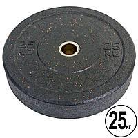 Бамперные диски для кроссфита Bumper Plates из структурной резины d-51мм Record RAGGY ТА-5126-25 25кг