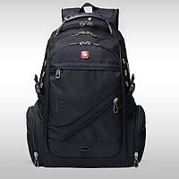 Вместительный рюкзак SwissGear Wenger, свисгир. Черный. + Дождевик. 35L / s8810-3 black