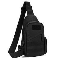 Тактична сумка-рюкзак, барсетка, бананка на одній лямці, чорна. + USB вихід