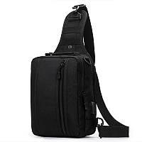 Чорна тактична сумка-рюкзак, барсетка на одній лямці + USB вихід. T0445