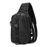 Чорна тактична сумка-рюкзак, месенджер, барсетка.