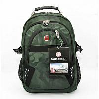 Рюкзак мужской текстильный с выходом для USB, наушников хаки 9363