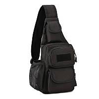 Черная тактическая сумка-рюкзак, барсетка, бананка, однолямочник. + USB выход, фото 1