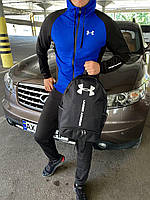 Спортивный костюм мужской Under Armour zipp black-blue с капюшоном | осенний весенний ЛЮКС качества