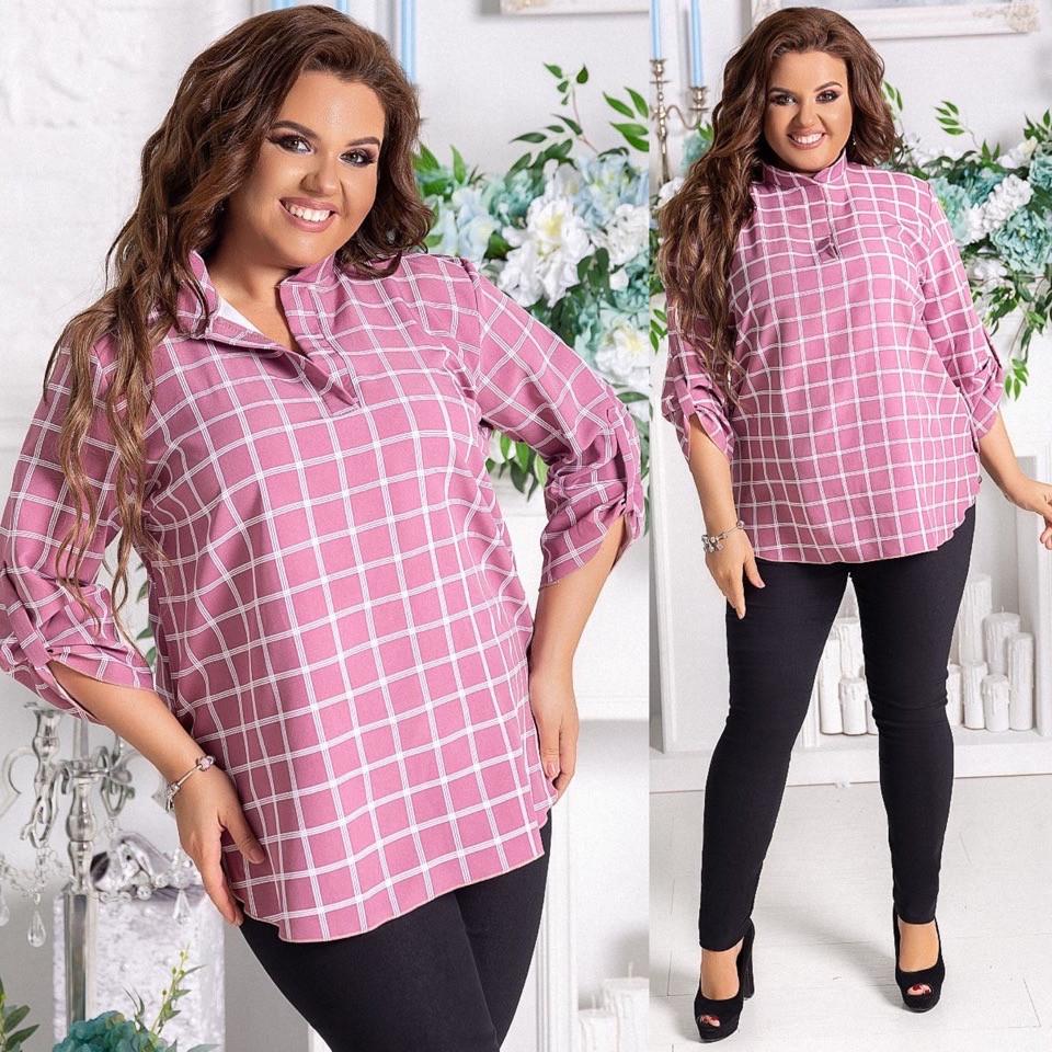 Городской женский костюм в клеточку брюки и рубашка Большие размеры