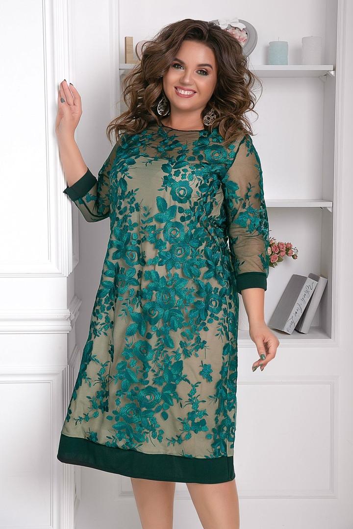 Элегантное женское платье с французской вышивкой на сетке Большой размер