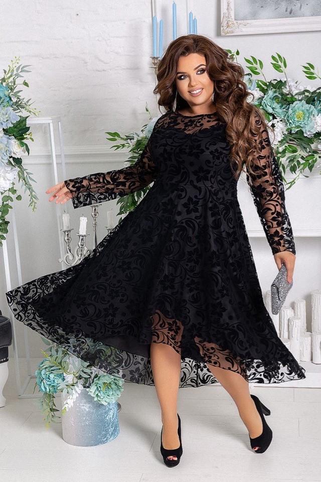 Платье женское нарядное креп-дайвинг/турецкий флок больших размеров
