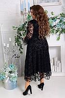 Платье женское нарядное креп-дайвинг/турецкий флок больших размеров, фото 2