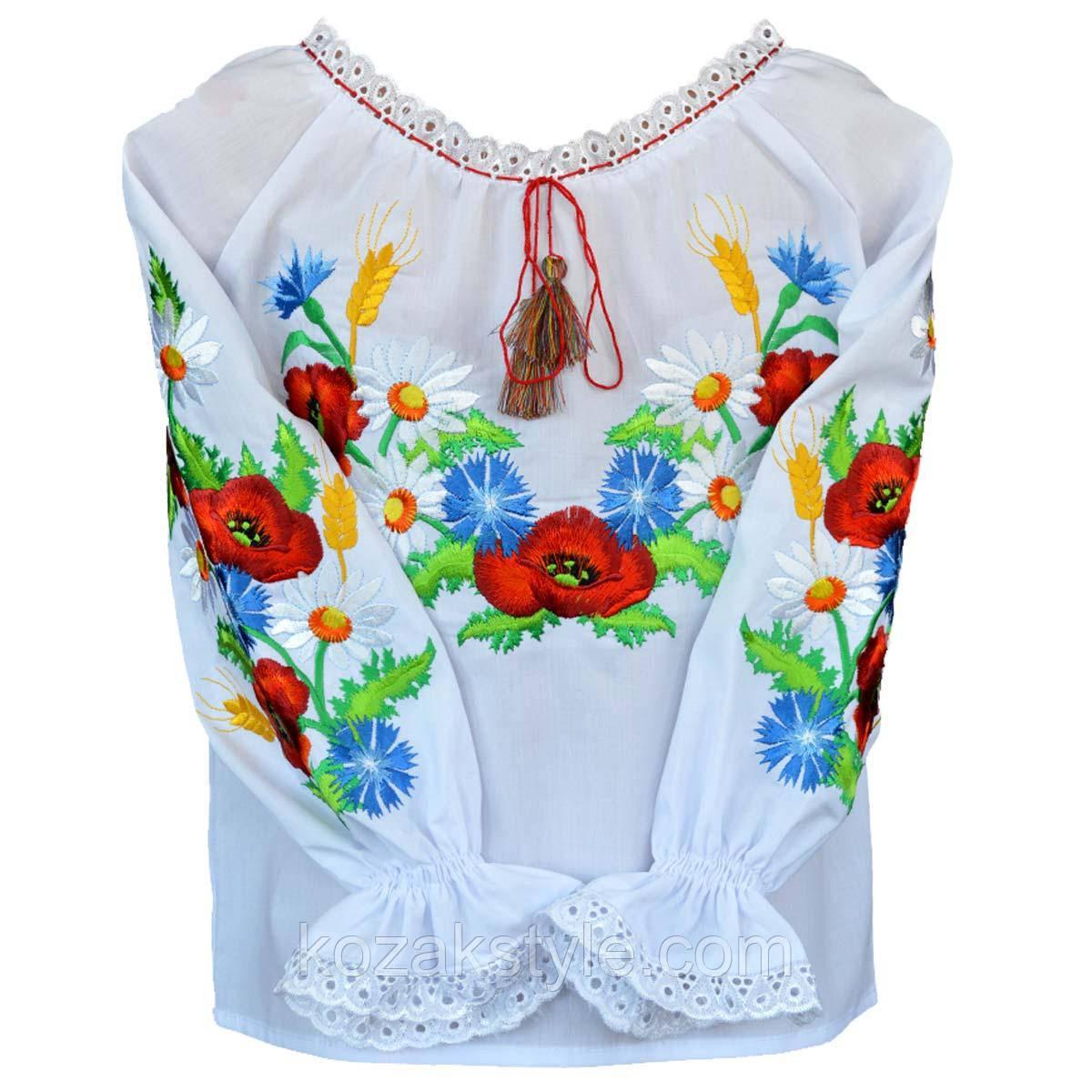 Сорочка вишита на дівчинку Польові квіти та колоски