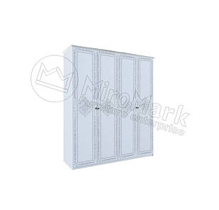 Шкаф Луиза 4 дв без зеркал Белый глянец ТМ МироМарк