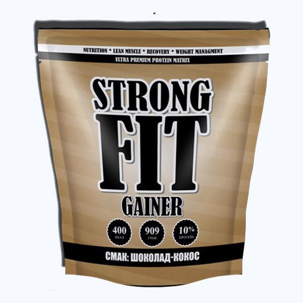 Високобілковий Гейнер Strong FIT Gainer 10% protein (909 g шоколад-кокос)