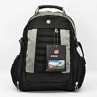 Рюкзак мужской текстильный с выходом для USB, наушников черный 1419