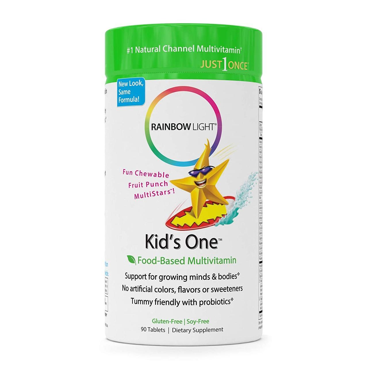 Мультивитамины для детей на фруктовой основе, Rainbow Light, Kid's One, MultiStars, 90 жевательных таблеток