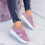 Женские стильные кроссовки розовые / пудра эко -замш, фото 3