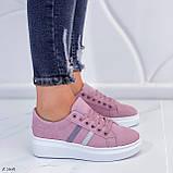 Женские стильные кроссовки розовые / пудра эко -замш, фото 2