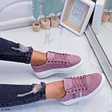 Женские стильные кроссовки розовые / пудра эко -замш, фото 5