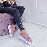 Женские стильные кроссовки розовые / пудра эко -замш, фото 6