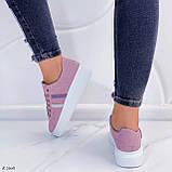 Женские стильные кроссовки розовые / пудра эко -замш, фото 8