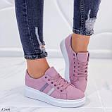 Женские стильные кроссовки розовые / пудра эко -замш, фото 7